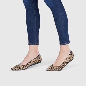 Rothy leopard point toe flat